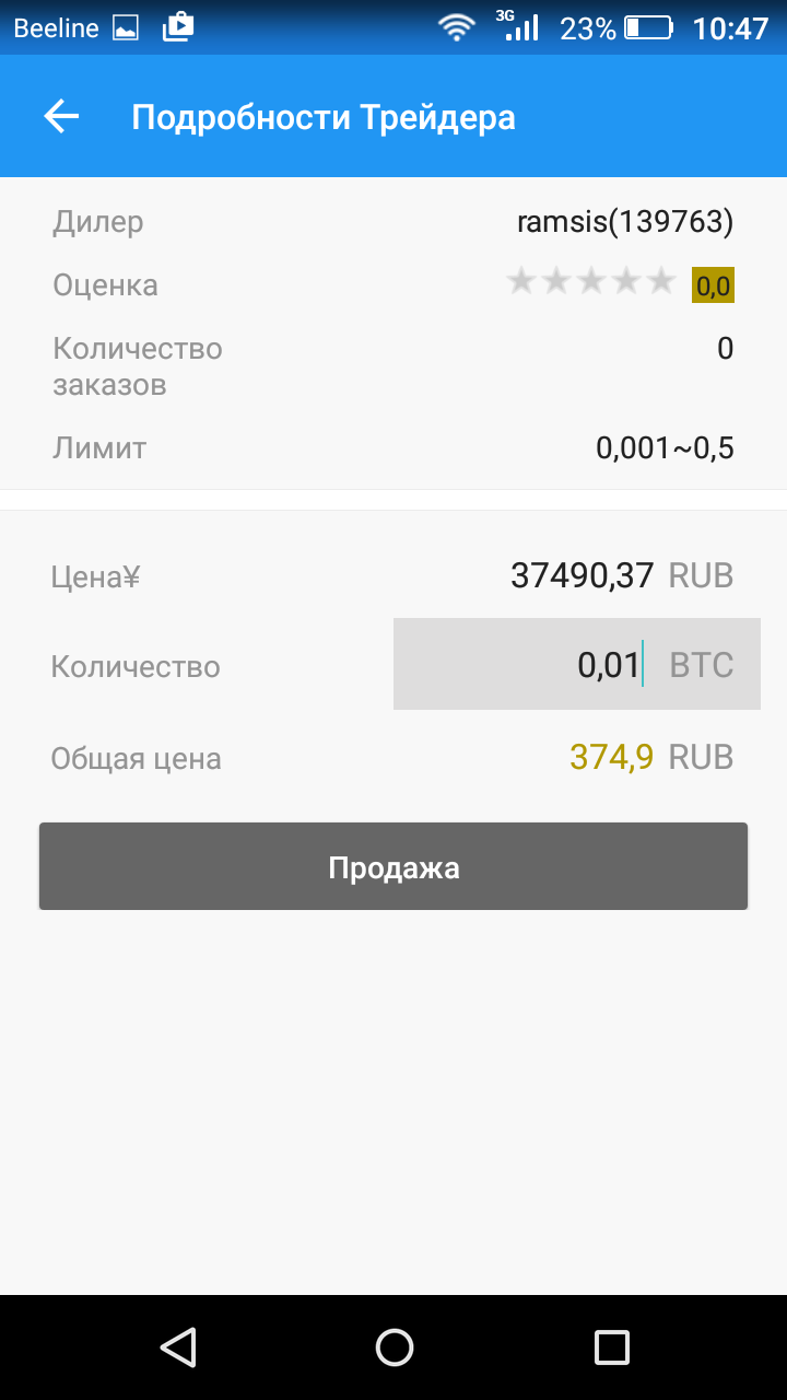 Торговля BTC/RUR 1