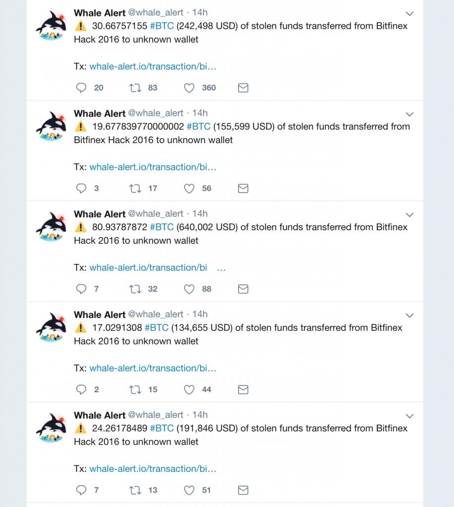 Украденные с Bitfinex в 2016 году BTC