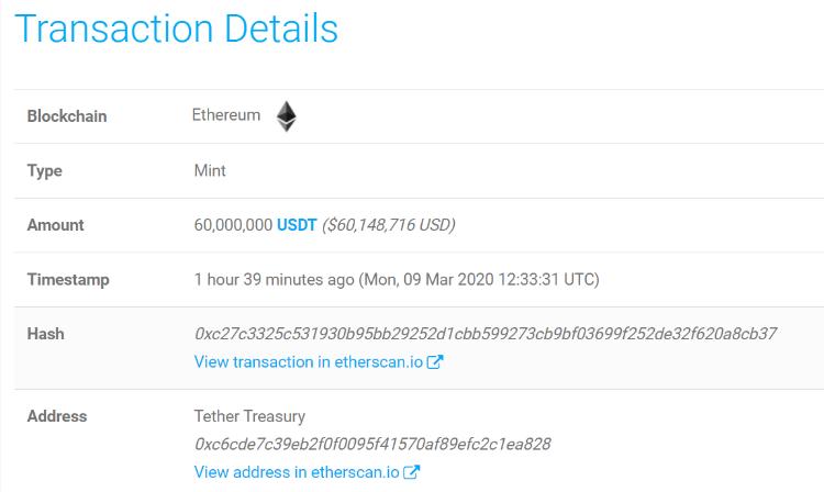 Tether выпустила еще 60 миллионов USDT