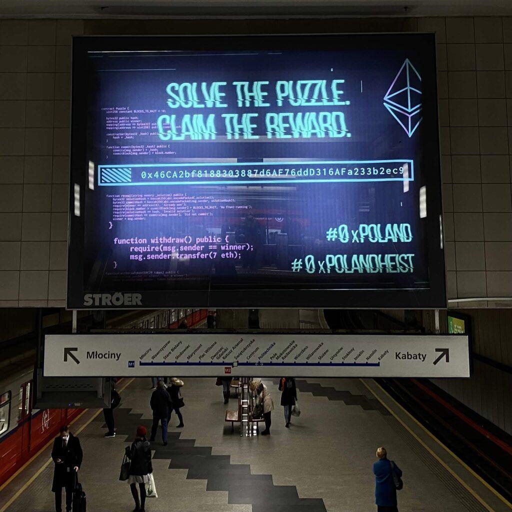 В варшавском метро появилась реклама с призывом решить загадку и получить 7 ETH